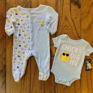 Super Cute Chicks Easter Outfits 3-6M
